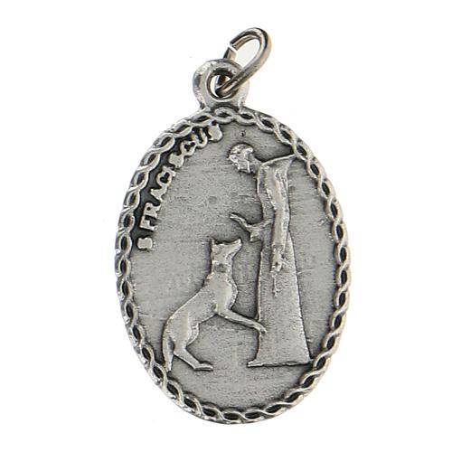 Medalla ovalada con San Francisco de Asís y el lobo 2,5 cm 1