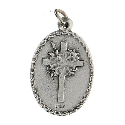 Medalla ovalada con San Francisco de Asís y el lobo 2,5 cm 2