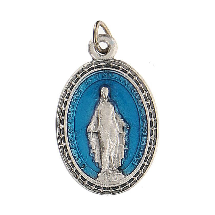 Medaglia azzurra con Madonna Miracolosa 2,5 cm zama 4