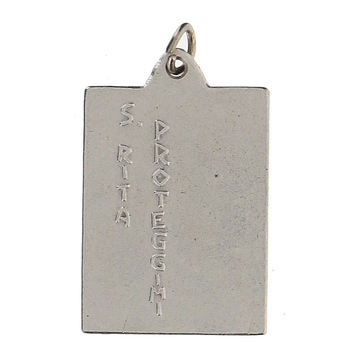 Santa Rita Proteggimi su medaglia rettangolare 2,5 cm 4