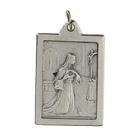 Santa Rita Proteggimi su medaglia rettangolare 2,5 cm s1