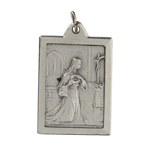 Santa Rita Proteggimi su medaglia rettangolare 2,5 cm 1