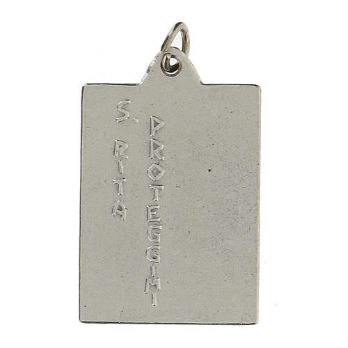 Santa Rita Proteggimi su medaglia rettangolare 2,5 cm 2