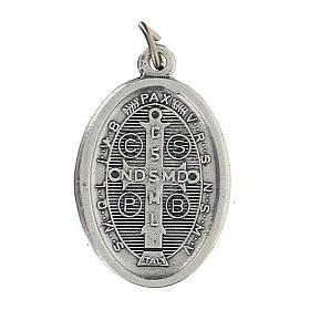 Saint Benoît sur médaille ovale bleue 1,5 cm zamak s2