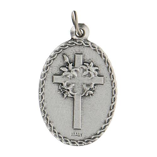 Medalla ovalada San Francisco de Asís y el lobo 2,5 cm 2
