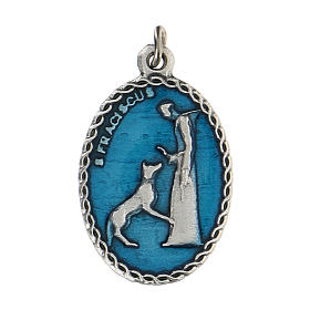 Medaglia ovale azzurra San Francesco d'Assisi e il lupo 2,5 cm s1