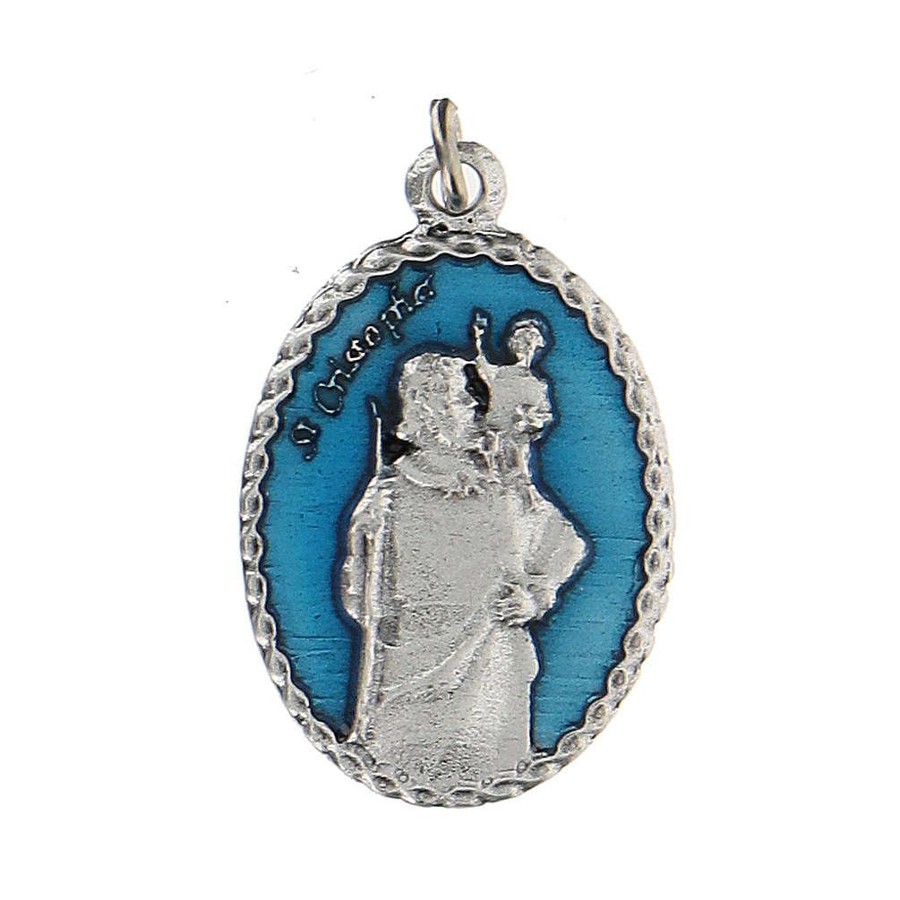Medaglia smaltata con San Cristoforo con rilievo 2,5 cm 4