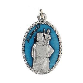 Medaglia smaltata con San Cristoforo con rilievo 2,5 cm s1