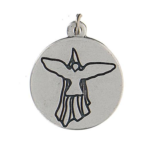 Medaglia smaltata tonda Cresima con Spirito Santo 1,5 cm zama 2