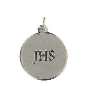 Medaglietta tonda smaltata con Calice IHS 1,5 cm zama s2