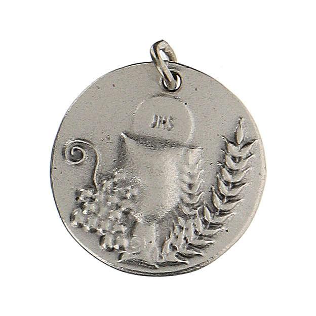Medalla redonda Cáliz IHS para Primera Comunión 1,5 zamak 4
