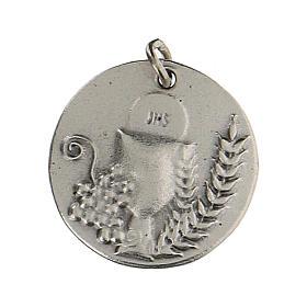 Medalla redonda Cáliz IHS para Primera Comunión 1,5 zamak s1
