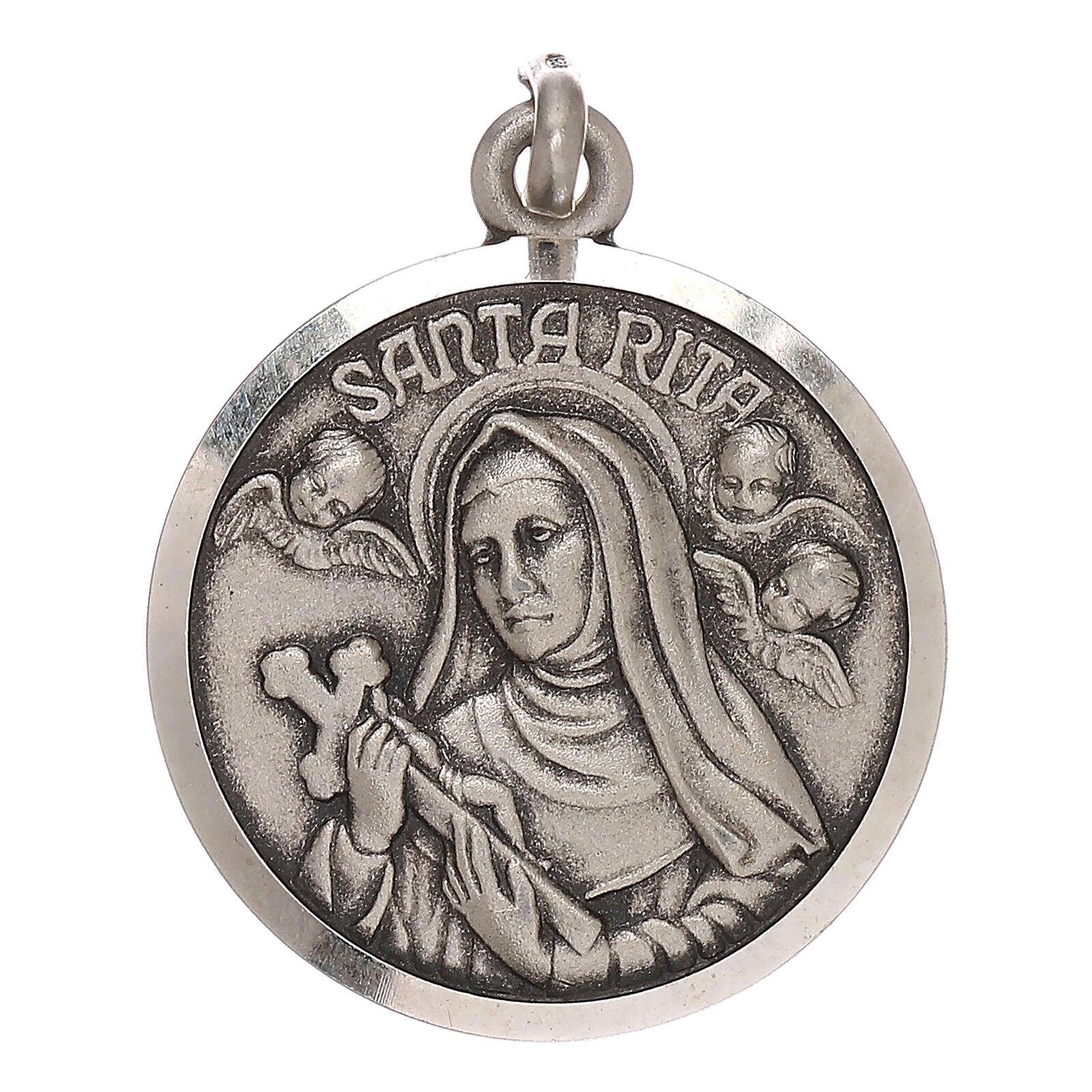 Medaglietta Santa Rita 2 cm in argento 800 4