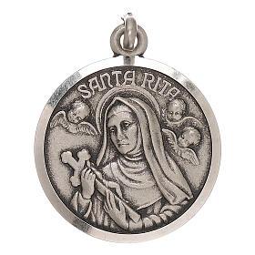 Medaglietta Santa Rita 2 cm in argento 800 s1