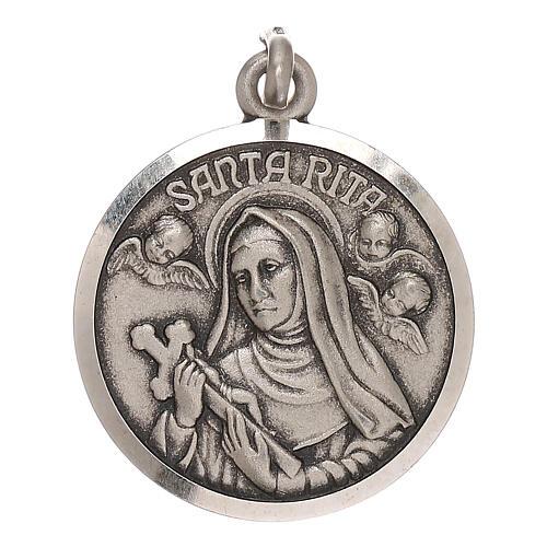 Medaglietta Santa Rita 2 cm in argento 800 1