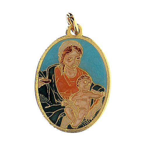 Turquoise medal with Virgin Mary and Baby Jesus 1