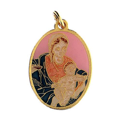 Zawieszka Madonna z Dzieciątkiem różowe tło 1