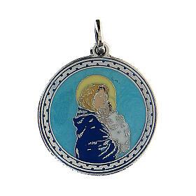 Wisiorek Madonna z Dzieciątkiem różowe tło s1