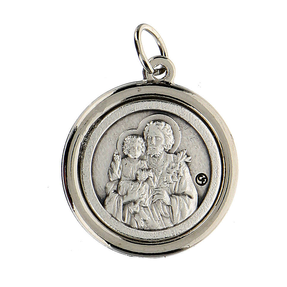 Medalla borde lúcido San José y Sagrada Familia 2 cm diámetro 4