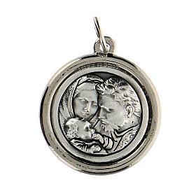 Medalla borde lúcido San José y Sagrada Familia 2 cm diámetro s2