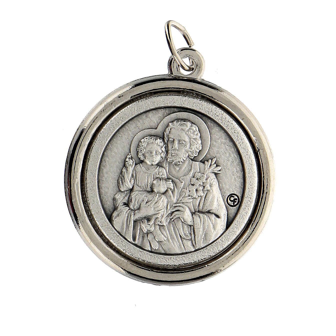 Medalla círculo interior opaco Sagrado Familia y San José 3 cm 4