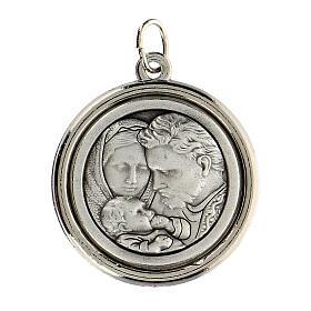 Medalla círculo interior opaco Sagrado Familia y San José 3 cm s2