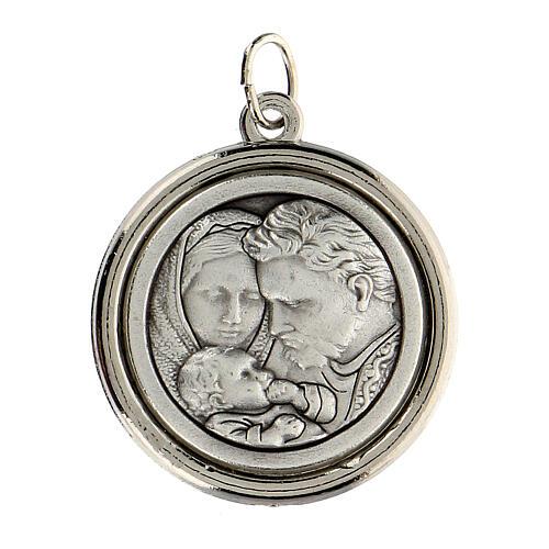 Medalla círculo interior opaco Sagrado Familia y San José 3 cm 2