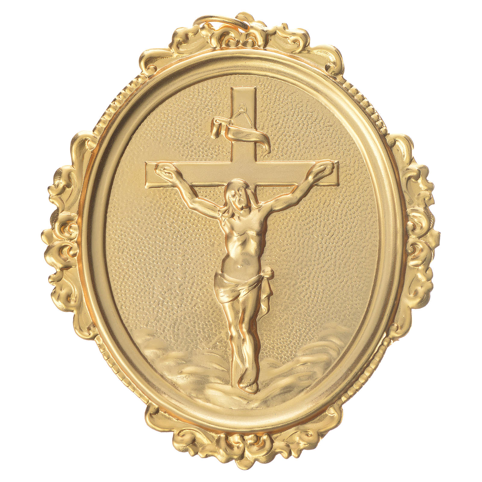 Confraternity Medal in brass, cross with Christ in brass 3