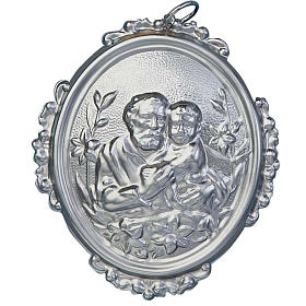 Confraternity Medal in brass, Saint Joseph with baby s1