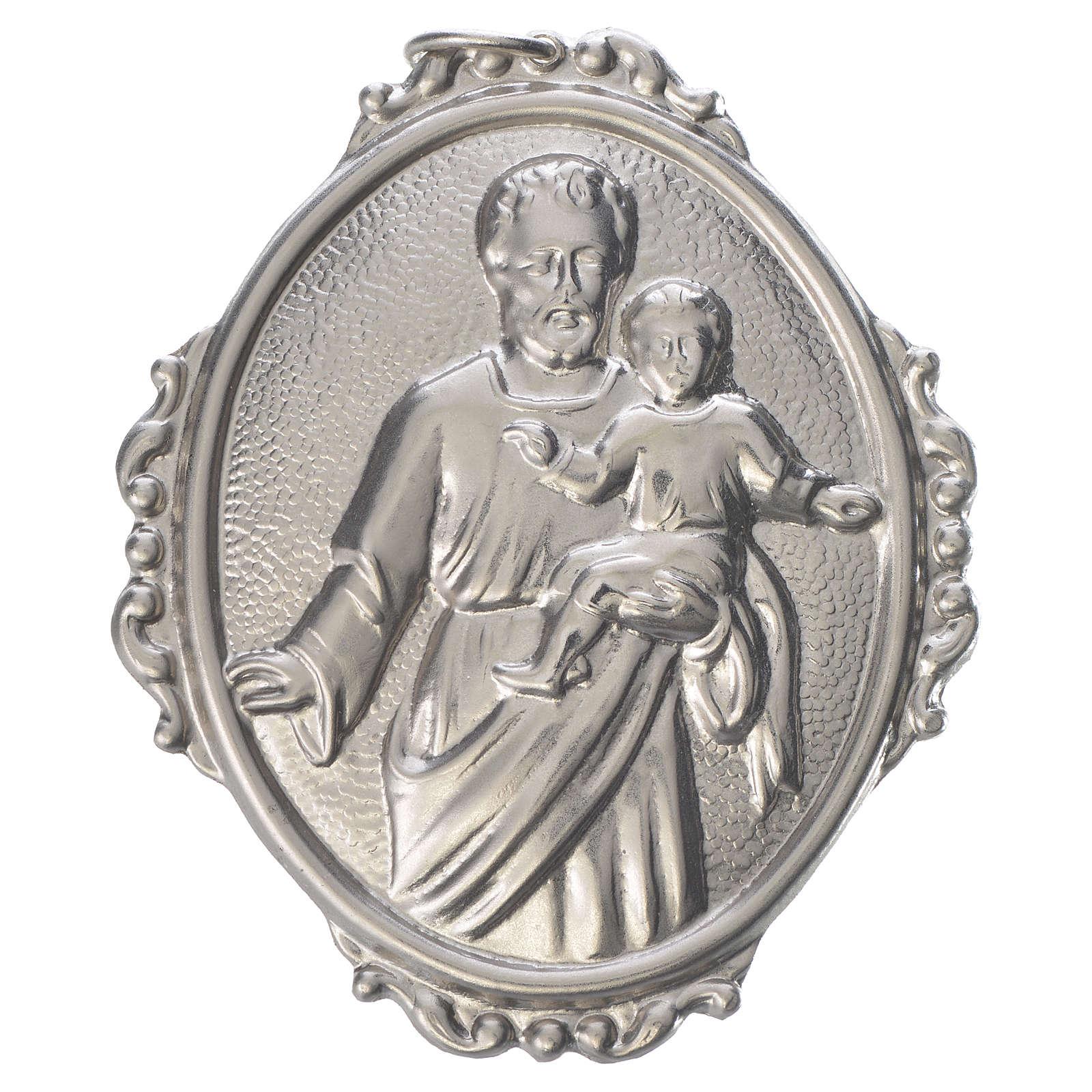 Medalla cofradía San José con Niño latón 3