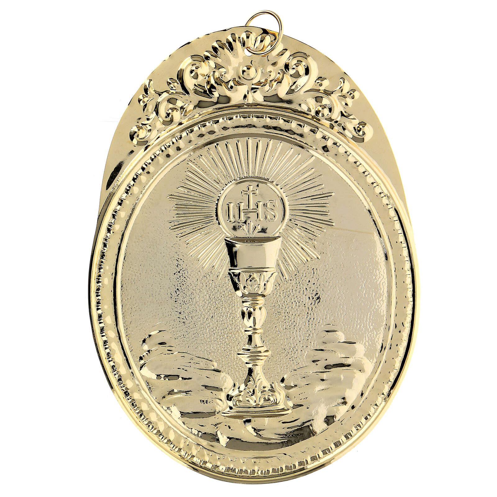 Confraternity Medal in brass, Chalice with IHS 3