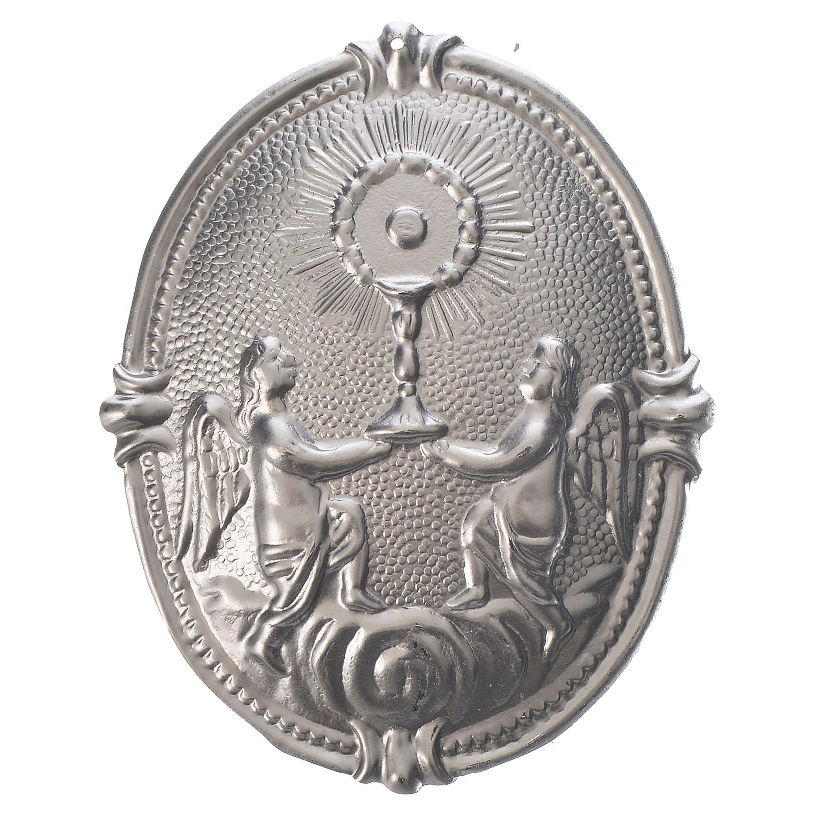 Confraternity Medal in brass, Roman Monstrance with Angels 3