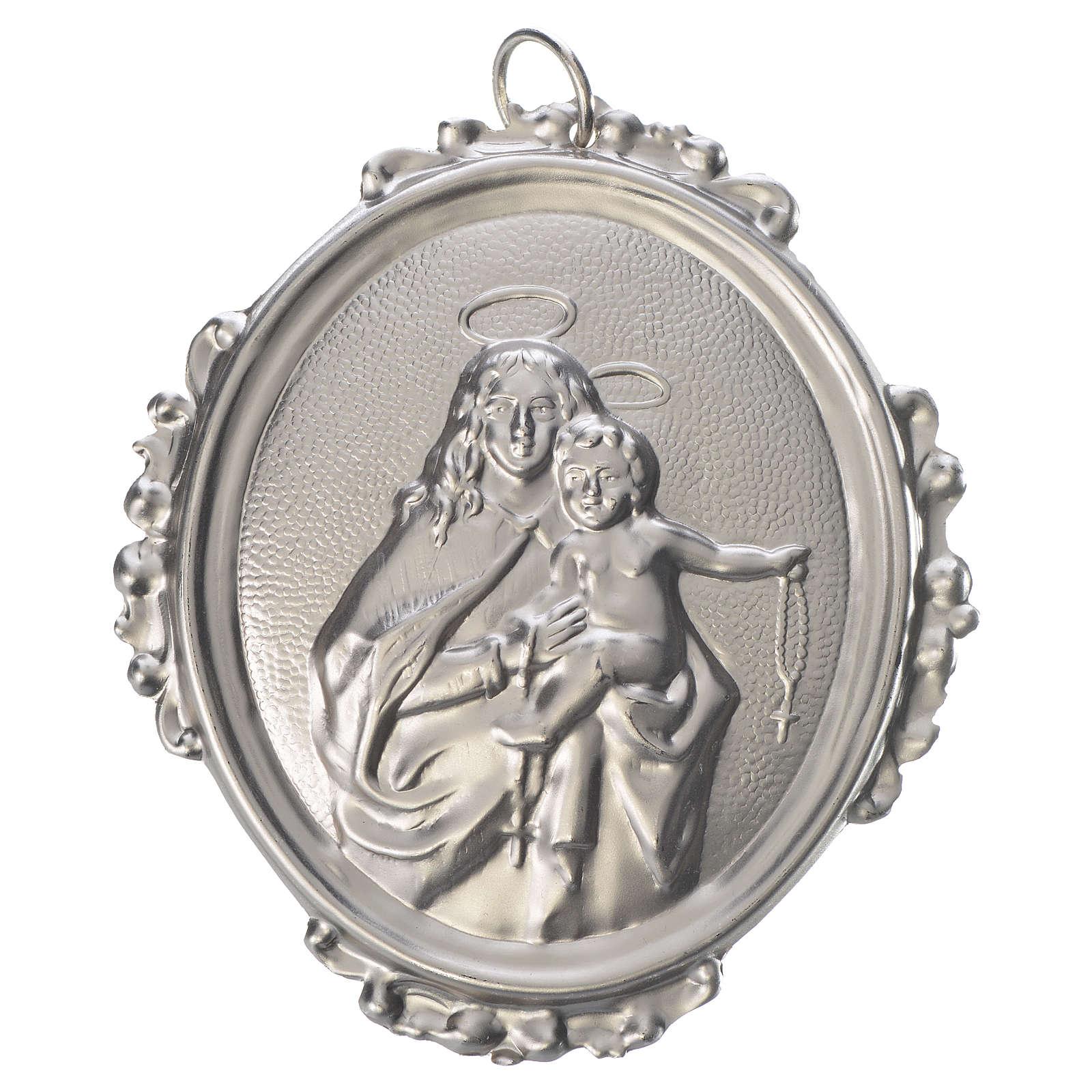 Medaglione confraternita Madonna del Rosario ottone 3