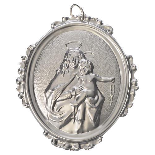 Medaglione confraternita Madonna del Rosario ottone 1