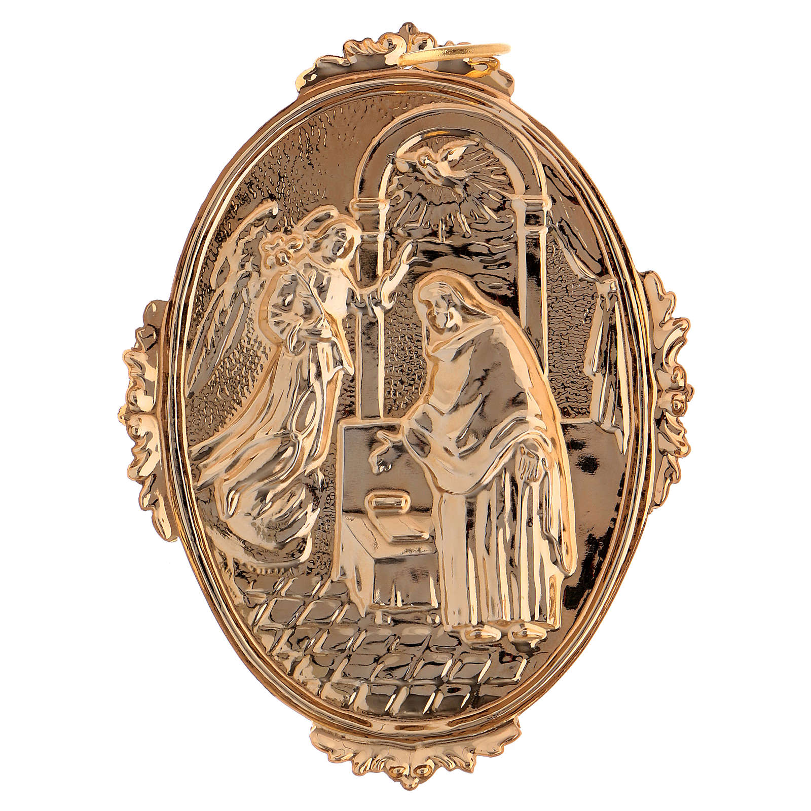 Confraternity Medal in brass, Annunciation scene 3