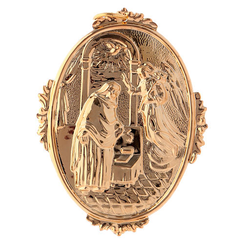 Confraternity Medal in brass, Annunciation scene 1