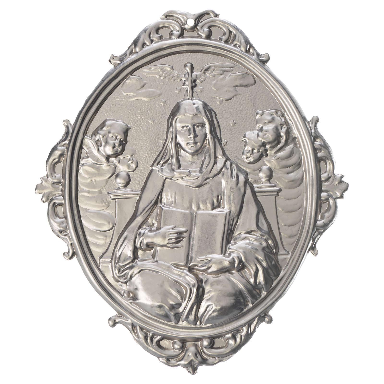 Medaglione confraternita Madonna con libro ostensorio angeli 3