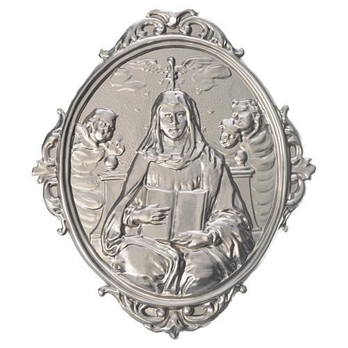 Medaglione confraternita Madonna con libro ostensorio angeli 1
