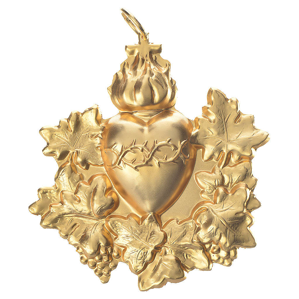 Confraternity Medal in brass, Sacred Heart with garland 3
