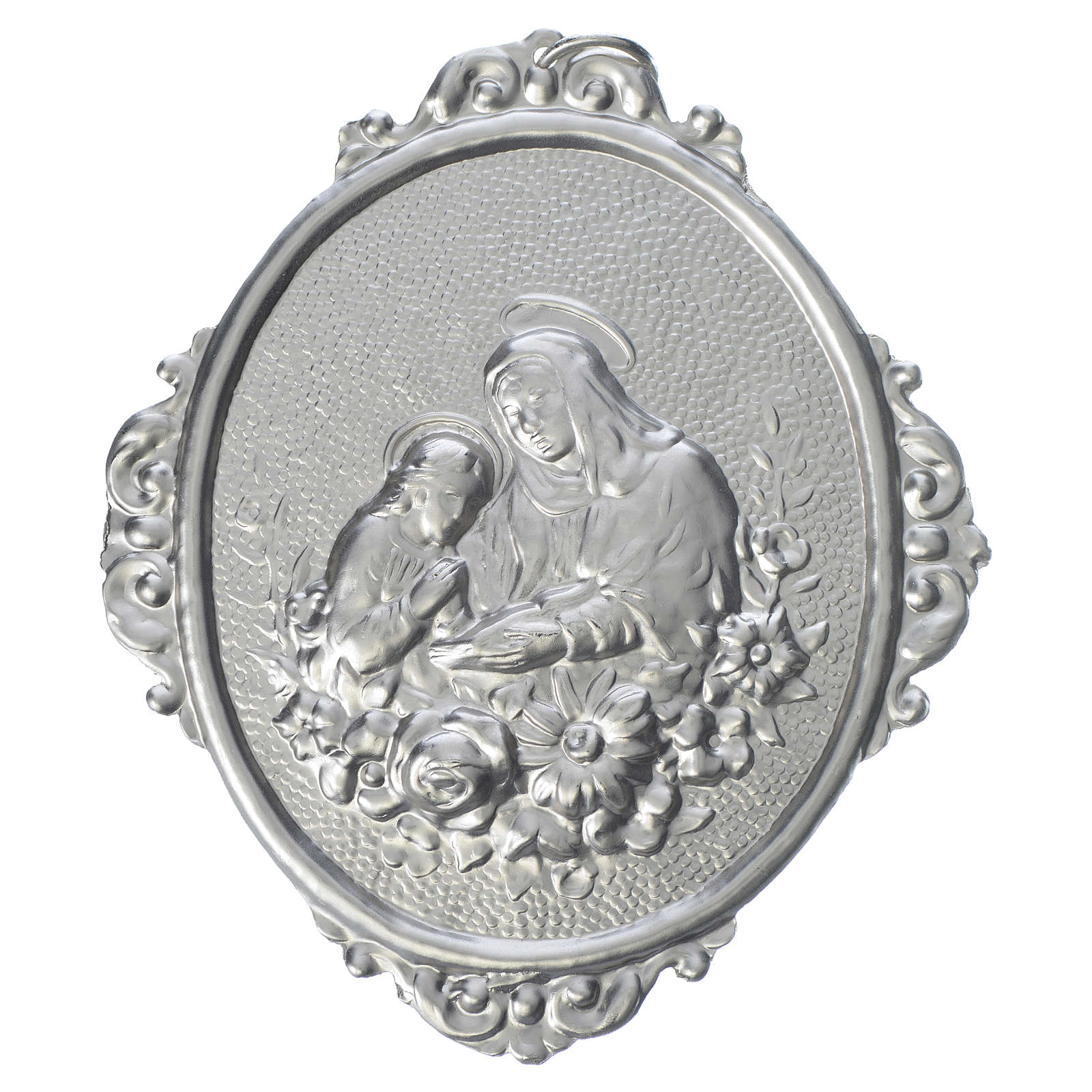 Confraternity Medal in brass, Saint Anne with flowers 3