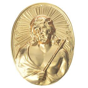Médaille confrérie laiton Christ avec couronne d'épines s1
