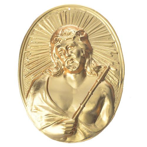 Médaille confrérie laiton Christ avec couronne d'épines 1