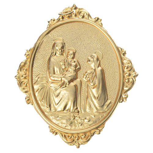 Medalla cofradía Virgen con niño latón 1