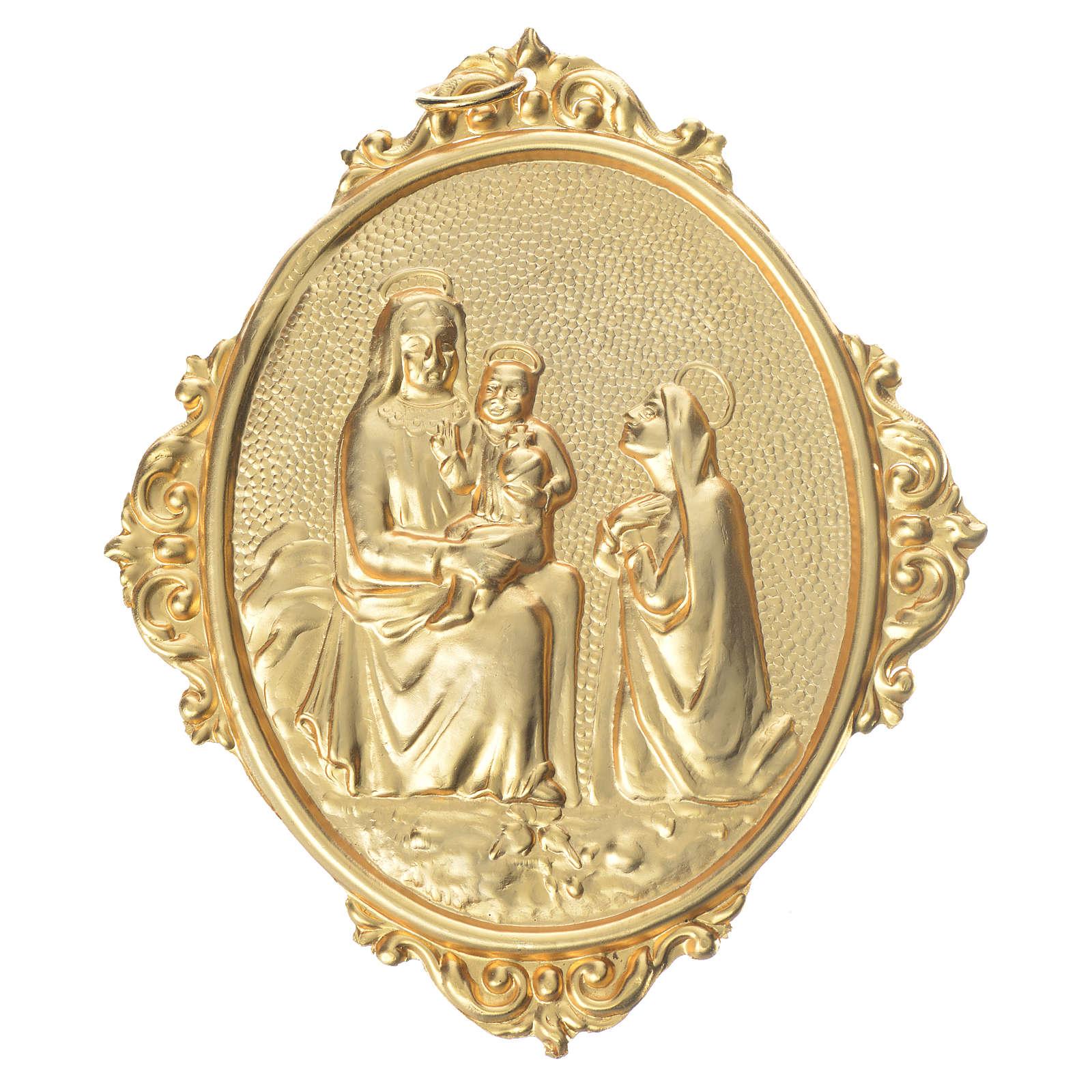 Medaglione confraternite Madonna con bambino ottone 3