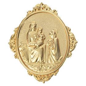 Medaglione confraternite Madonna con bambino ottone s1
