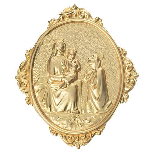 Medaglione confraternite Madonna con bambino ottone 1