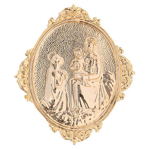 Medaglione confraternite Madonna con bambino ottone 2