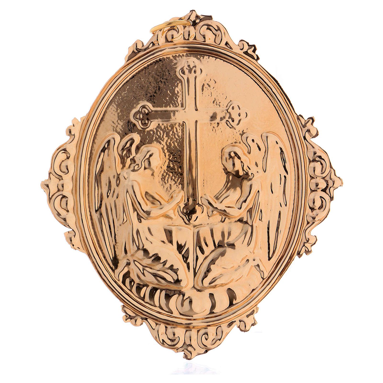 Medaglione per confraternite Angeli con croce ottone 3