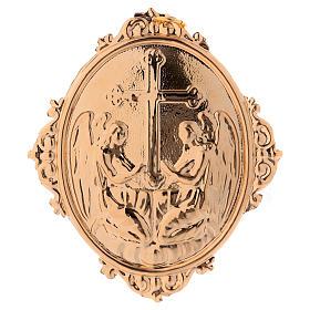 Medaglione per confraternite Angeli con croce ottone s1