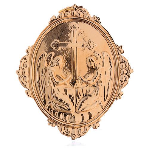 Medaglione per confraternite Angeli con croce ottone 2
